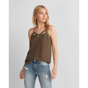 XS Express Barcelona Cut-Out Cami in Green